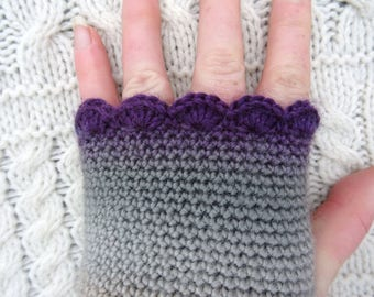Crochet Wrist Warmers, Womens Armwarmers,  Grey Purple Wristwarmers,  Fingerless Gloves Crochet