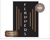 Flappers Sign Printable Prohibition Gatsby Era Roaring 20s Women's Bathroom Sign 1920s Black Gold Art Deco Wedding Party Decor
