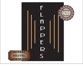 Flappers Sign Printable Prohibition Gatsby Era Roaring 20s Women's Bathroom Sign 1920s Black Gold Art Deco Wedding Party Decor