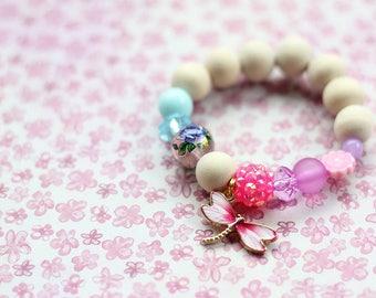 Kids Bracelet, Nature Inspired, Dragonfly, Beaded Bracelet, Gift For Kids, Nature Lover