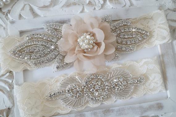 Rustic garter set ivory wedding garter set lace bridal junglespirit Image collections