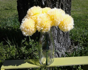 12 Yellow yarn pom pom flowers. Pom pom bouquet centerpieces. Wedding/ baby shower decorations. Home decor.