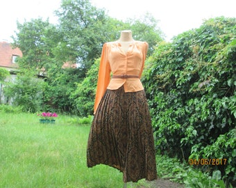 Pleated Skirt / Pleated Skirts / Size EUR38 / 40 X UK10 / 12 / Brown Pleated Skirt / Accordion Skirt / Elastic Waist Skirt
