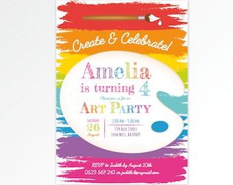 Art Invitation - art party invite - painting party - artist invitation - art birthday party printable invitation - rainbow invitation