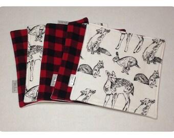 Organic cloth wipes, baby washcloths, organic bamboo, buffalo plaid washcloth, flannel baby wipe, organic cloth wipe, woodland baby