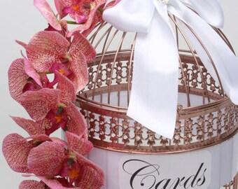 SALE 2018- Rose Gold Birdcage, Wedding Card Money Holder Unique Birdcage Cardholder, Card Birdcage, Orchid Birdcage, Flower Wedding Birdcage