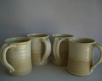 Hand thrown stoneware pottery mugs set of 4  (M-54)