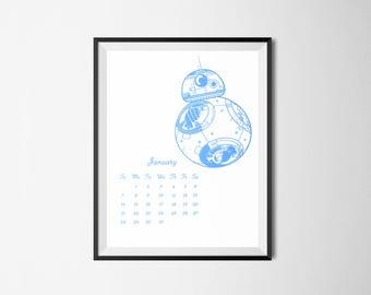 BLUE 2018 Calendar January - December printable Star Wars Luke Skywalker prints Darth Vader The Last Jedi Stormtrooper BB-8 Rey Mark Hamill