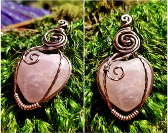 Rose Quartz Crystal Heart Wire Wrapped Pendant, Necklace *Reduced Price, see description*