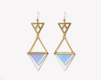 Holographic triangle earrings | Gold clear iridescent earrings | Geometric triangle earrings | Pastel futuristic jewellery