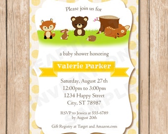 Forrest Baby Shower Invitation | Woods, Woodland, Boy or Girl, Neutral, Bear, Fox, Bunny, Deer, Doe - 1.00 each printed