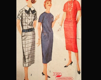 Vintage 50s Drop Waist Sheath Straight Pilgrim Collar Dress EASY Sewing Pattern 2442 B32
