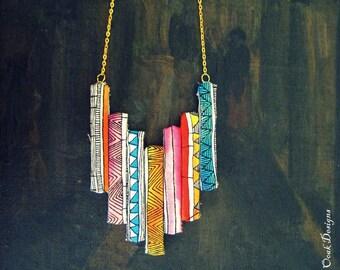 Tribal Necklace, Tribal Statement Necklace, Boho Necklace, Boho Statement Necklace, Textiles Necklace, Tribal Bib Necklace, Unique Jewelry