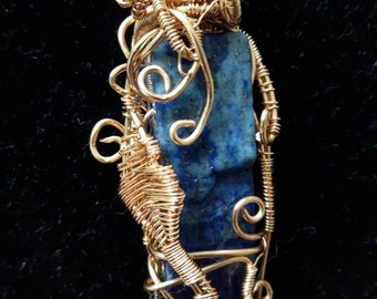 Lapis block brass wire wrapped pendant (Pendant only) For DIY