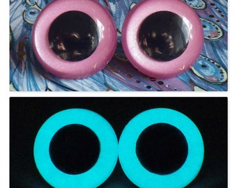 30mm Glow In The Dark Safety Eyes, Sparkly Pink Safety Eyes With Aqua Glow, 1 Pair Of Hand Painted Plastic Safety Eyes