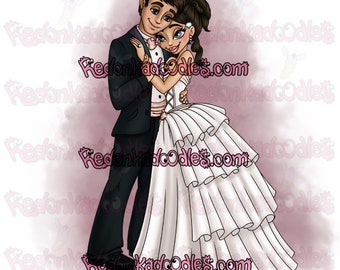 Digital Stamp - Wedding Couple - Uncoloured Digital Image for Handmade Greeting Cards
