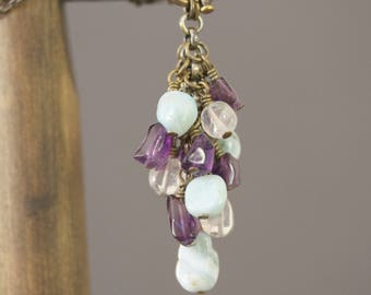 Cascading Amethyst, Amazonite and Quartz Nugget Antiqued Brass Necklace, Front Closure Necklace, Vintage Inspired, Dangling Gemstones