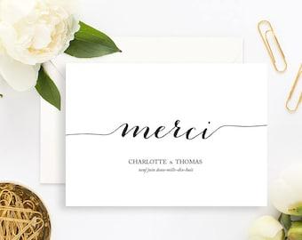 Classical Black and White Wedding Thank You Card with white envelope - Wedding Thank You Card - Minimalist Wedding Invitation - Chic Wedding