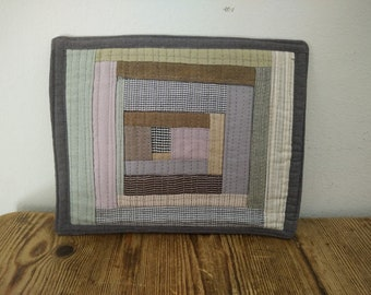 Grey, Taupe, Green, Pink, Mini Art Quilt.