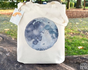 Moon Tote Bag, Ethically Produced Reusable Shopper Bag, Cotton Tote, Shopping Bag, Eco Tote Bag, Reusable Grocery Bag, Stocking Filler