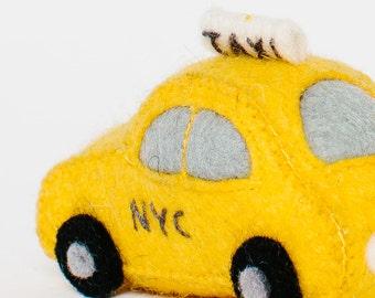 Felt Taxi Ornament, NYC Taxi, Felt Christmas Ornament