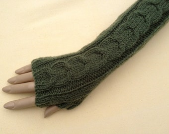 Luxury Hand Knitted Extra Long Soft Merino Wool Fingerless Gloves/Mittens Arm Wrist Warmers, Holly Green