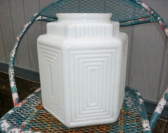 Art Deco Milk Glass Ceiling Globe Fixture with Tiered down shoulders
