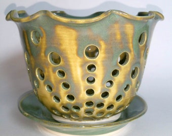Sage Green and Teal Orchid Flower Pot with Air Vents and a Drip Saucer - Make Your Orchid Happy! - Wheel Thrown Pottery