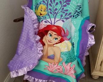 Little Mermaid Blanket, Ariel Blanket, Ariel Minky Blanket, Disney Blanket, Disney Bedding, Satin Ruffle Blanket, Princess Blanket, Mermaid