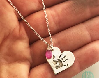 Handprint Necklace with Birth Stone