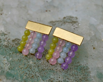 handmade brass and silver earrings with semi precious beads