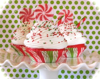 """Peppermint Candy Ornaments Fake Cupcake """"Old Fashioned"""" Peppermint Cupcake Ornaments Set of 3 Standard Size 12 Legs Original Design"""