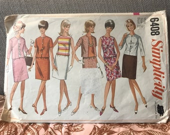 Vintage 60s Simplicity 6408 Suiting Separates Pattern-Size 12 (32-25-34)