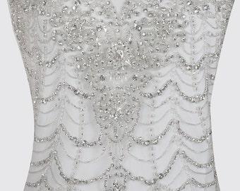 Hand Beaded Embroidered WEDDING DRESS Bodice Top, princess dress, sweetheart applique, illusion neckline wedding dress, prom dress