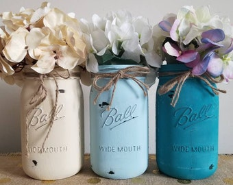 Painted Mason Jars, Ivory and Blue Mason Jars, Mason Jar Centerpieces, Beach Mason Jars, Beach Decor, Home Decor, Beach Home Decor