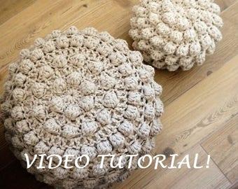 CROCHET PATTERN Video Tutorial Diy Tutorial XL Large Crochet Pouf Poof, Ottoman, Footstool, Home Decor, Pillow, Bean Bag, Floor cushion