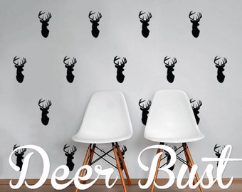 Deer Mount Wall Decal Pack, Vinyl Wall Sticker Decal Art Pattern WAL-2191