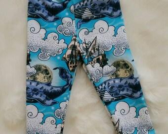 Whales leggings, knit, 6-9 months, unisex, Australian handmade