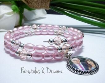 Pale Pink Photo Bracelet, Memorial Photo Bracelet , Custom Photo Bracelet, Memory Wire, Wrap Bracelet, Photo Jewelry , 16mm Photo ,UK