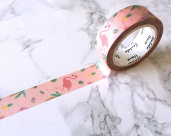 Tropical Flamingo Washi Tape // Decorative Paper Masking Drafter Planner Scrapbooking Tape