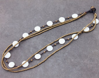 Pearl Coin Layering Strand Brass Necklace