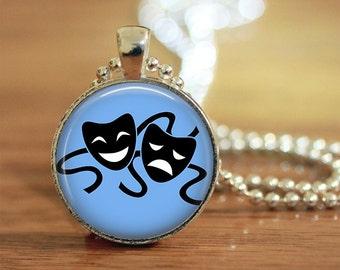 Theatre Masks Pendant, Theatre Masks Keychain, Theatre Masks Necklace, Theatre Masks Jewelry, Comedy Tragedy Masks,