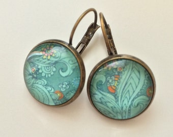 Foliage and small orange flowers earrings