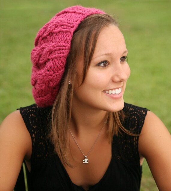 Chunky Knit Hat Women Raspberry Beret - Pink Cable Beret Hat Pink Knit Hat - Pink Hat Pink Beret Pink Beanie - 34 Color Choices