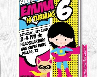 Superhero Girl Invitation, Superhero Girls Birthday Party, DIGITAL Invitation, 2 options