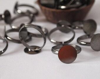10 Ring Blanks Adjustable Metal Gun Metal Black Tone Pad Size 12mm