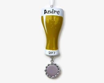 Craft Beer Personalized Ornament - Hoppy Holidays - 21st Birthday - Hand Personalized Christmas Ornament