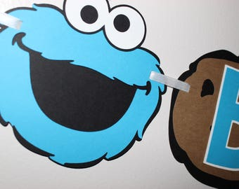 Cookie Monster Banner, Cookie Monster Party, Sesame Street, Sesame Street Party