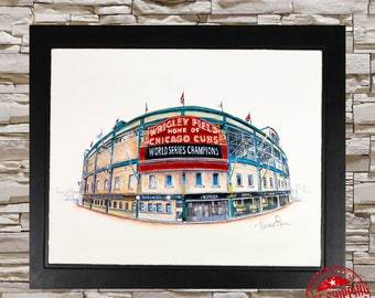 chicago cubs wall art print sport decor chicago cubs gift