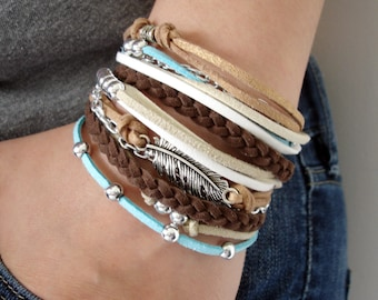Stacked Bracelet, Wrap Boho Bracelet Set, Bohemian Bracelet,Bohemian Jewelry, Feather Bracelet,Teen Gift, Gypsy Bracelet, Boho Chic Bracelet